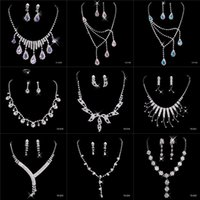 Wholesale Ornaments Cheap Necklace Earrings Rhinestone Big Crystal Bridal Accessories Bridesmaid Lady Women s Prom Party Wedding Jewelry Sets