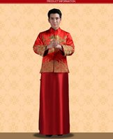 Wholesale NEW Chinese Traditional Bridegroom Clothes Tang Suit Gold Embroidery Ancient Costume Classical Tailcoat Vintage Groom Wear