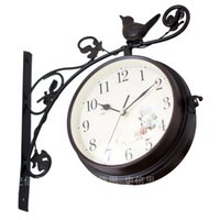 antique garden art - Double sided metal clocks Metal big wall clock iron watch home garden clock wrought arts home clocks