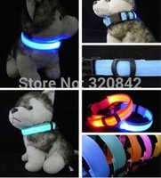Wholesale LED Nylon Pet Dog Collar Night Safety LED Light up Flashing Glow In The Dark Electric LED Pets Cat Dog Collar