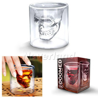Wholesale 1pcs Crystal Skull Head Vodka Shot Glass Bar Beer Drinking Cup Chirstmas GIFT with box