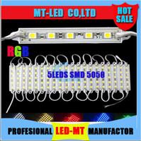 X1k 2015 de DHL Alto brillo 6 colores elegir o RGB Led Pixel Módulos 5 Leds 5050 SMD LED módulos impermeables DC 12V para letras de canal