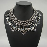 no min order - 2015 Fashion JC100 NEW Fashion ZA Design RHINESTONE STATEMENT NECKLACE Crystal Leaf Choker For Women No Min Order High Quality Boutique