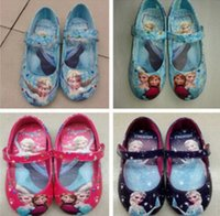 Wholesale New Arrive pairs Girls Frozen Elsa Shoes Frozen Shoes Blue Girls Flats Kids Children Shoes High Quality Princess Girls Shoes styles