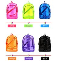 Wholesale Women Fashion New Style Candy Color Clear Transparent Beach Backpack Student Bag