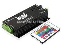 Wholesale LED Music Controller keys v DC adapter output RGB common anode for led strip light with IR controller black shell