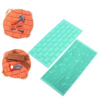 Wholesale 2Pcs Set Fondant Printing Decorative Mold Baking DIY Tool Cake Border Embossing Lasher Weave Brick Wall Flower Plastic Rectangle