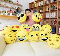 Wholesale Diameter cm Cushion Cute Lovely Emoji Smiley Pillows Cartoon Cushion Pillows Yellow Round Pillow bolster Stuffed Plush Toy