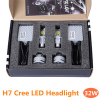 Wholesale 2X H7 Cree LED Headlight W lumens Waterproof Car Head Lamp Bulb Cool White K DC12V V