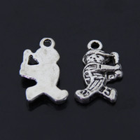 baseball player bags - Athlete Sports Baseball player charm pendant mm antique silver fit bag mobile diy jewelry making