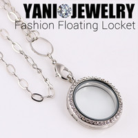 wholesale lockets - Round Magnetic Floating Locket Glass Living Memory Locket Necklaces with Rhinestone chains included for free Hot Sale Mix Color mm
