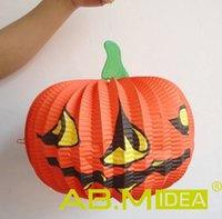 Wholesale AB M IDEA Halloween Decorations For Masquerade Party And Bar cm Pumpkin Paper Lantern G HW198
