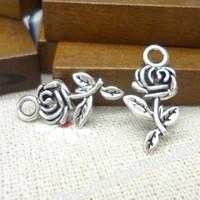 Wholesale Charms Antique Plated Silver Zinc Alloyt flowers Rose Fit Pendant Bracelet Necklace DIY Jewelry