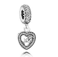 Wholesale Fits European Bracelets Mum silver dangle Silver Charms with cubic zirconia New Sterling Silver Beads DIY