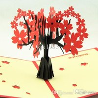 Wholesale Cherry blossoms trees D pop up greeting card handmade kirigami card as a new gift to friend