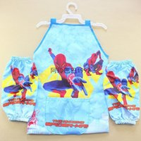 Wholesale Spiderman ELSA ANNA Aprons Print Kids Childrens Cartoon Cooking Art Painting SmockSleeveless Aprons Oversleeves cartoon aprons MIXwholesale