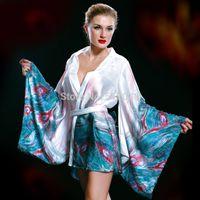 Wholesale 151204 Sexy Japanese Satin Kimono Babydoll Chemise Robe Slip Silk Nightgown nighties sleepwear pyjamas nightwear gown dress for women