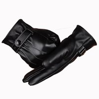artificial leather manufacturer - Manufacturers Direct Selling Leathe Gloves Men Outdoor Warm Full Palm Touch Screen Gloves for