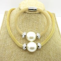 Wholesale Fashion Fine Women White Big Simulated Pearl Jewelry Sets Pearl Necklaces Bracelet Gift For Women