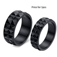 african chestnut - New fashion cool black couple rings for women men water chestnut stainless steel punk engagement rings