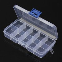 Cheap 10 Slots Plastic Clear Adjustable Jewelry Beads Organizer Box Craft Pill Tablet Storage Boxes