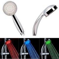 Wholesale Color RGB LED Shower Head Handheld Sprinkler Temperature Sensor