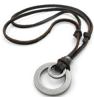 al por mayor anillo doble para mujer-Para mujer para hombre del anillo doble colgante de cuero ajustable collar de la cadena de la cuerda del envío de gota de plata de Brown