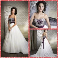 ball trends - Beaded Sequins Crystal Bodice Strapless Ball Gown Wedding Dresses Organza Chapel Train Purple Ribbon Bowknot Bridal Gown Fashion Trend