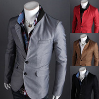 Wholesale hot selling mens blazers jackets brand slim fit collar stitching design men single row two button suit small XX28F