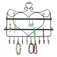 Wholesale Wrought iron wall mounted frame earrings necklace holder stud earring accessories storage rack jewelry plaid pavans display rack