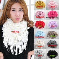 ladies fashion scarves - New Arrivals Women Lady Knitting Warm Scarf Wrap Fringe Snood Neck Circle Warmer Loop Cowl Ring Shawl Fx233