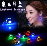animal ear shapes - New Christmas Gift LED Earrings Light Up LED Butterfly Shaped Bling Ear Studs Earring Dance Party Love Butterfly Round Shape