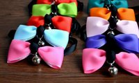 apparel tags - 1000pcs Pet Dog Neck Tie Cat Dogs Bow Ties Bells Headdress Adjustable Collars Leashes Apparel Christmas Decorations Ornaments Dog Colors