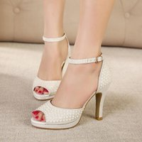 studded shoes - Hot Sale Silver white pearl studded dress sandals fashion high heels wedding shoes for women elegant prom gown dance shoes cm