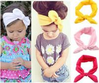 Wholesale 30 off Colors Baby Toddler Sweet Girl Kids Bow Hairband Turban Knot Rabbit Headband Headwear20pcs