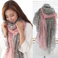 gift - 6pcs Hot Long Fashion Voile Lady Vintage Dot Scarf Shawl Neck Wrap Beach Bohemian Scarves Women Accessories Gift Free