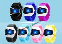 alloy sheet metal - freeshipping Hot Seller Aircraft Sheet LED Watch OEM Men Ladies Watches Silicone Blue Light Wristwatch Metal Sports Watches