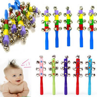 Wholesale Random Color Baby toy Bell Jingle Rainbow Shaker Stick Educational Music Instrument Toy Cute pc