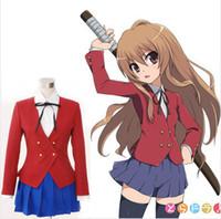 aisaka taiga cosplay - Anime TIGER DRAGON Toradora Aisaka Taiga Cosplay Costume School Uniform for Girls Blazer Blouse Skirt Tie
