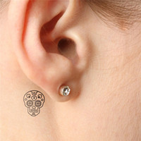 pattern tattoo designs - 2015 Halloween small skull pattern design Tattoo Finger Ear Fake shoulder Tattoo HC1119