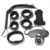 Wholesale 7 Set Adult Fun Game Pleasure Tame Black PU Leather Handcuffs Whip Collar Erotic Flirt Toys for Couple Adult Product Cosplay