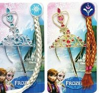 Wholesale 2015 Hot Sell Children Girls Frozen Elsa Anna Lovely Queen Crown Headwear Children Kids Girls Princess Long Hair Crown Stick B3989