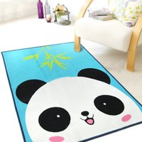 Wholesale 2016 New Children s cartoon panda blue carpet environmental protection non slip nylon bedroom rug size X130CM