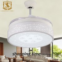ceiling fan remote control - modern inch remote control ceiling fan light white hollow acrylic invisible blades led fan lamp Y4206