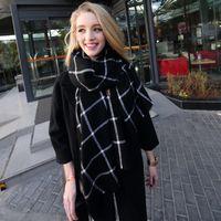 al por mayor rojo a cuadros negro bufanda de cachemir-Bufanda 2015 de la manta de la tela escocesa Bufanda unisex de la tela escocesa de la tela escocesa de la tela escocesa Bufanda 200 * 80cm de las bufandas de la manta de la cachemira del Faux del negro rojo