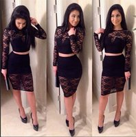 Cheap New 2016 Women Sexy Autumn Bandage Dress Fashion Celebrity White Black Party Club Lace Dress Long Sleeve 2 Piece Bodycon Dress