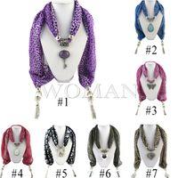Wholesale Hot New Mixed Pendants Leopard Grain Jewelry Beads Scarf Lady Chiffon Magic Scarves