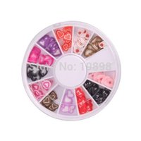 Wholesale IMC New D Heart shaped Nail Art Fimo Slice Slices Decal Pieces Decoration w Wheel order lt no track