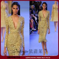 Cheap Long Sleeve Crystal Elie Saab Evening Dresses with Applique Beads V Neck Knee Length Luxury Gold Sheath Celebrity Red Carpet Dress Gorgeous