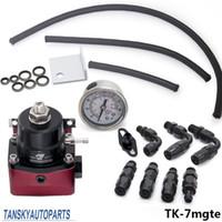 fuel - Tansky Universal Adjustable Fuel Pressure Regulator Kit Oil psi Gauge Universal Black Red AN Fit Oil cooler kit TK mgte
